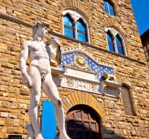Piazza della Signoria statue of David by Michelangelo and Palazzo Vecchio of Florence view, Tuscany region of Italy