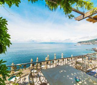 Beautiful terrace in world famous Sorrento shore. Amalfi coast. Campania, Italy
