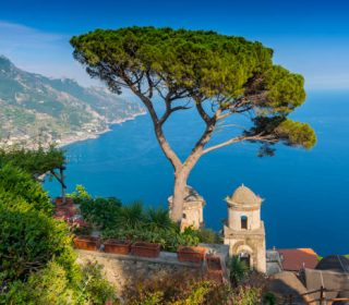 View of the Amalfi Coast and Gulf of Salerno from Villa Rufolo in the hilltop town of Ravello in Campania, Italy.