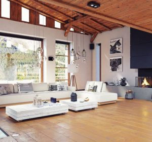 Modern chalet interior design. 3d rendering