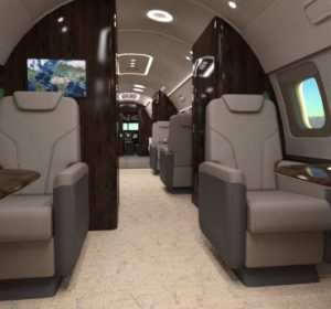 Modern interior of a luxury or corporate jet