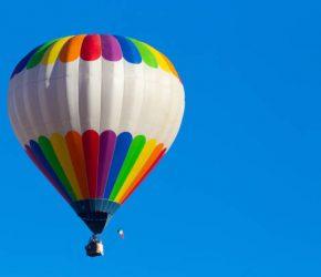 Multi colored hot air balloon at Mondovì, Piedmont, Italy.