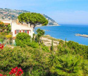 View of the Riviera dei Fiori (Riviera of Flowers) in the Italian Province Liguria facing the Sanremo Bay.