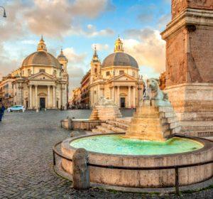 Piazza del Popolo (People's Square), Rome, Italy. Churches of Santa Maria in Montesanto and Santa Maria dei Miracoli. Egyptian obelisk of Ramesses II. Rome architecture and landmark.