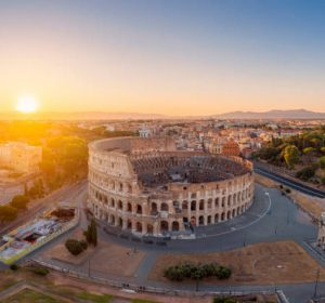 Aerial view of the Coliseum and of the City Buildings, Rome.
