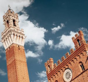 low angle view of torre del mangia