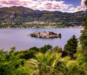 aerial view of lake Orta , may 29, 2019, in Orta san Giulio, piedmont, italy