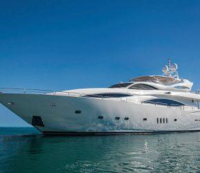 Luxury motor yacht in a quiet sea.