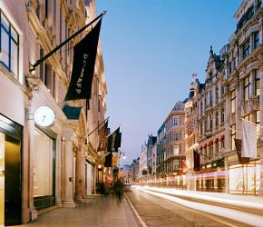 UK, New Bond Street, famous for luxury brand shopping in the heart of London's West End.