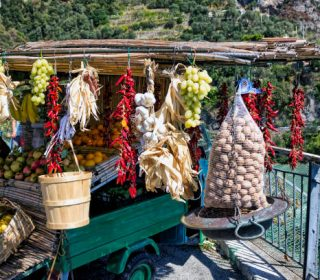 View of a store selling fruit, chillies, etc on the Amalfi Coast